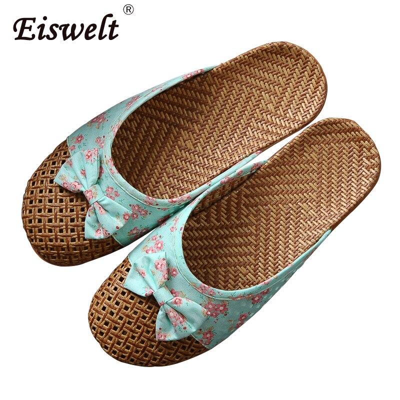 EISWELT nuevas zapatillas de mujer Zapatillas de casa de lino zapatillas de baño de Mujer Zapatos de Interior de verano zapatillas de playa de cáñamo Flip-flop