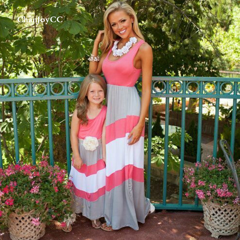 Family Matching Outfits Dress Summer Hot Sale Mom and Daughter Striped Dress Girls Kid Leisure Cotton100% Dress 2017 hot sale family matching outfits t shirt mom dad boys and girls camouflage cotton100% short sleeve t shirt