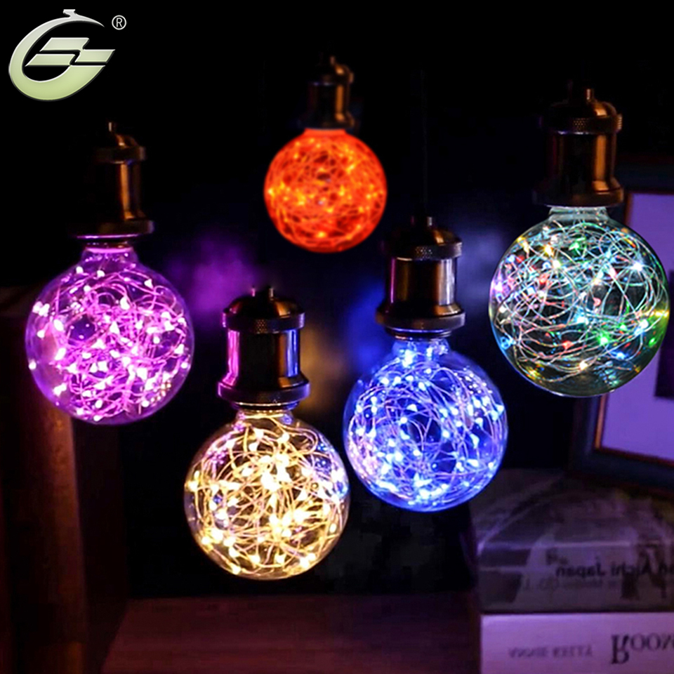 Colorful glass ball led g80 g95 e27 bulb string lights for 95 decoration