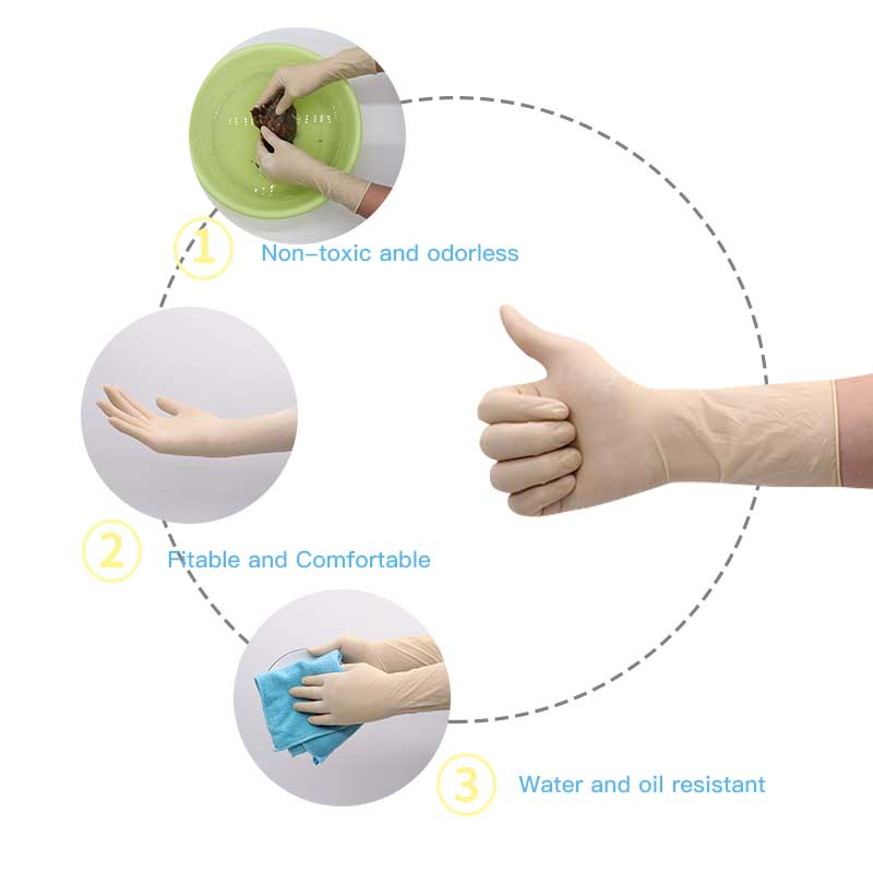 Image 3 - 100 Pcs Wholesale Lengthen 12 inches Latex Disposable Rubber Glove Thick Duable Household Cleaning Waterproof Industrial Gloves-in Safety Gloves from Security & Protection