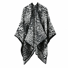 TOLINA Leopard print style Women Knitted Cashmere Poncho Capes Shawl Cardigans