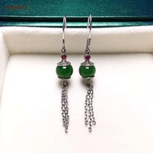 Certified Natural Hetian Jade Jasper Inlaid With 925 Sterling Silver Handmade Lucky Jade Earrings High Quality Wonderful Gifts цена 2017