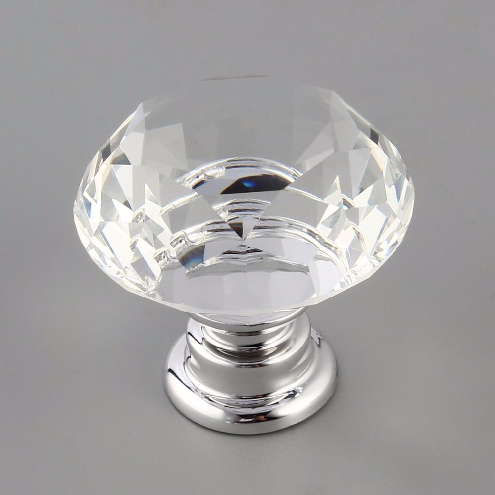 AOTU 10Pcs 30mm Diamond Plated Shape Crystal Glass Knob Cupboard Drawer Pull Handle New Kitchen Door Knob Handles Accessories