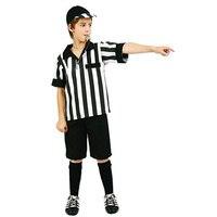 Preteen Referee Boy Cosplay Costume Child S Halloween White And Black Stripe Sports Costume Set