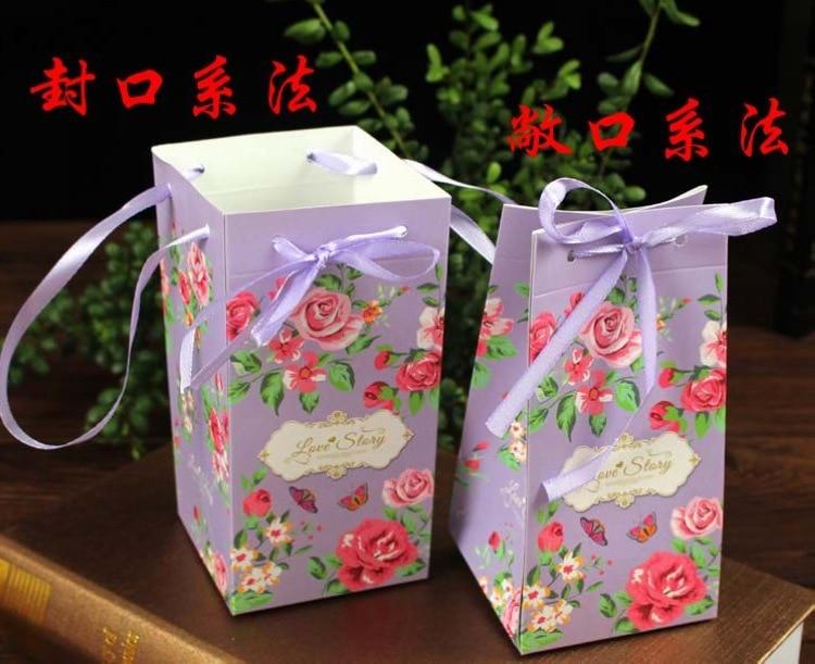 En gros 2000 pcs/lot fleur de pivoine boîte de mariage aime histoire chocolat boîte à bonbons cadeau sac wrap fête boîtes à gâteaux boîtes-cadeaux