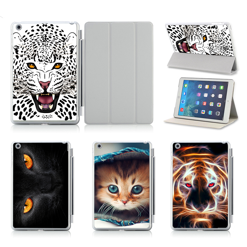 Cute Animal Cheetah Tiger Cat Pattern Protective Cases For Apple iPad Air 2 Case Smart Cover With Stand Flip PU Leather smart tiger