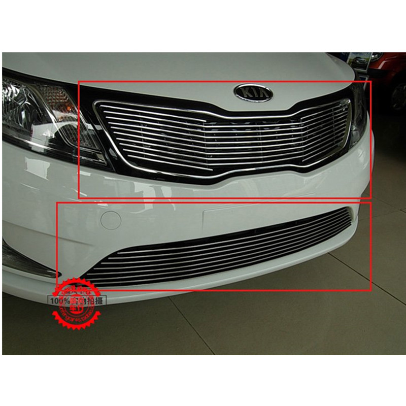 High quality stainless steel Front Grille Around Trim Racing Grills Trim For 2011-2012 KIA Rio/K2 free shipping 2011 2012 kia rio k2 4dr high quality stainless steel window trim strip down a set of 4pcs