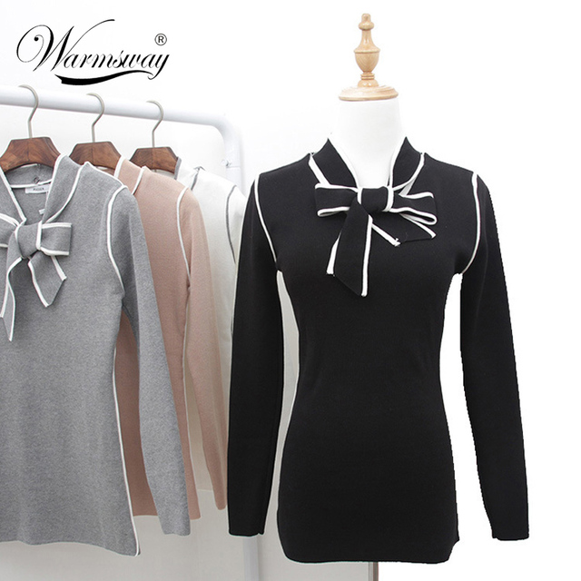 2017 New Fashion Women Cotton pullover Long Sleeve basic Tops Ladies slim Knitting Bow Tee Shirts Pull femme High quality WS-073
