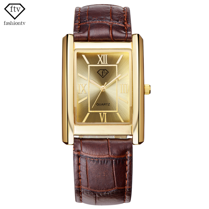 FTV Gold Watch Men 2017 Leather Belt Mens Rectangle Wristwatches 30 Meters Waterproof Male Watches Casual
