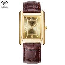FTV Rectángulo Marcado reloj de Oro Reloj de Los Hombres 2018 de Moda Cinturón de Cuero Para Hombre Reloj de Cuarzo Relojes Masculinos Impermeable Relogio masculino