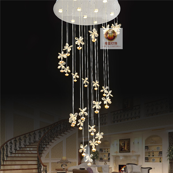 LED crystal chandelier staircase lamp Villa Hotel long crysta re staircase hall modern minimalist 2017