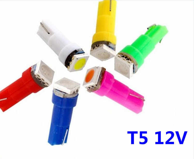 10pcs T5 5050 1SMD LED meter light  Indicator light T5 12V Blue red yellow green White Colorful lights Modified BULB T5