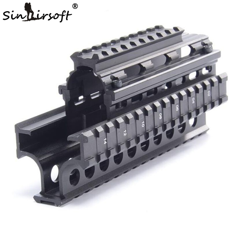 Yugo M70 AK Quad Rail Handguard para Laser Dot Sights Riflescope Mount V-cut para Co-testigo con Iron Sights MTU011