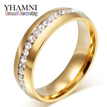 YHAMNI Fine Jewelry Never Fade Pure Gold Color 316l Stainless Steel Ring Titanium Steel CZ Diamant Engagement Wedding Ring R05S(China)