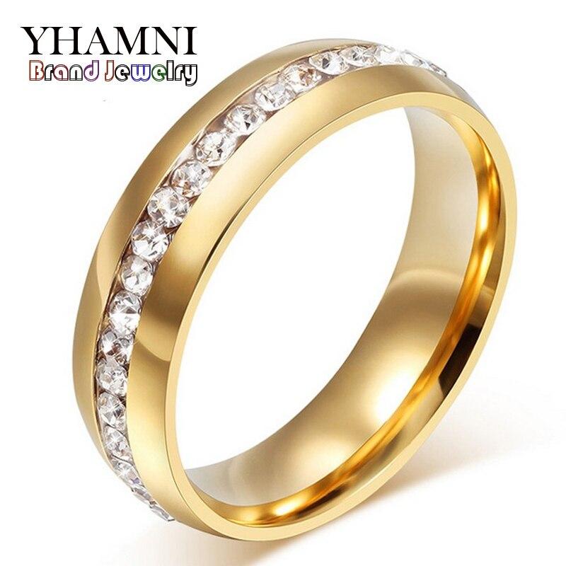 YHAMNI joyería fina nunca se decolora Color oro puro 316l anillo de acero inoxidable titanio acero CZ diamante compromiso anillo de boda R05S