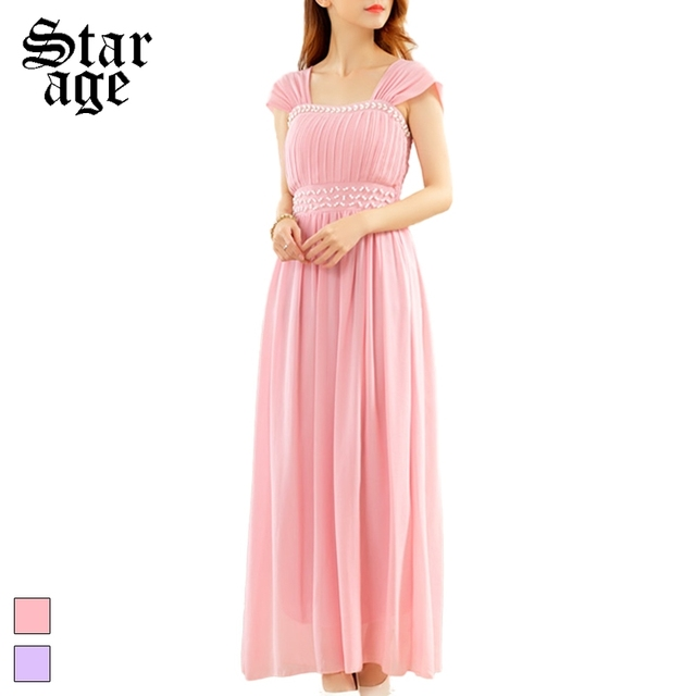 M 3XL Pearl Beads Maxi Long Dinner Gown Plus Size Ladies Pleated ...