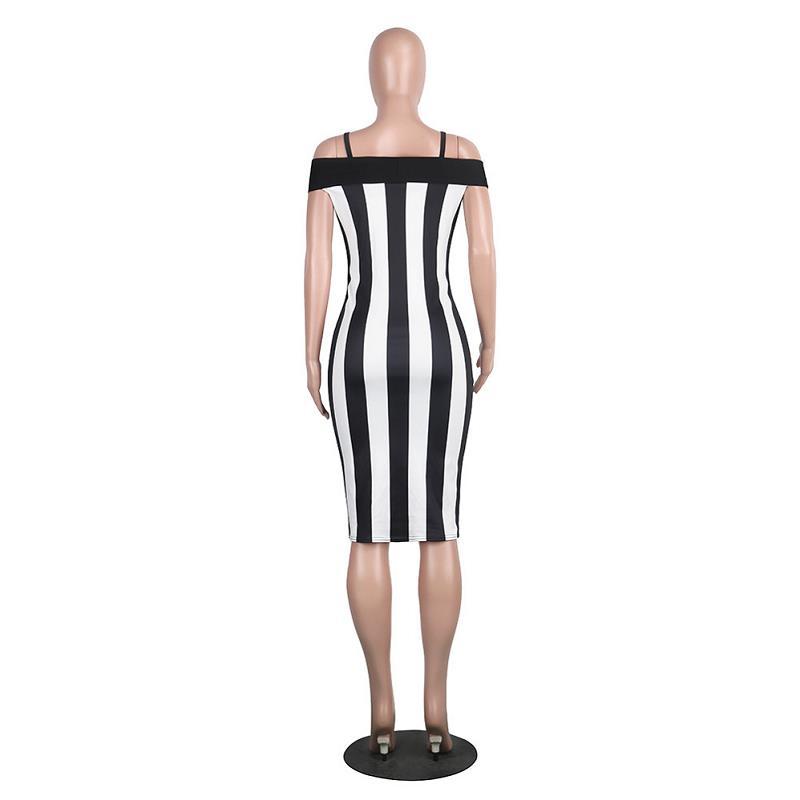 SEBOWEL 2017 Black White Vertical Striped Printed Women Club Dress Sexy Summer Spaghetti Strap Bodycon Dress Party Wear  (7)