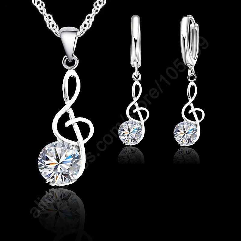 โน้ตดนตรีชุดเครื่องประดับแท้ 925 Silver Cubic Zirconia สัญลักษณ์จี้สร้อยคอต่างหูชุดของขวัญ