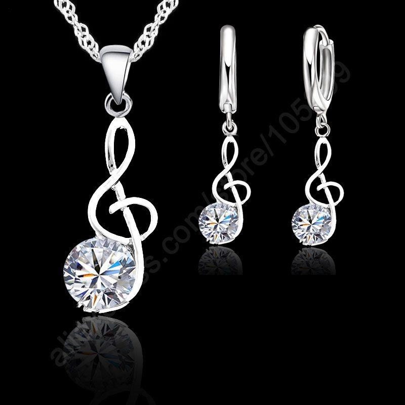 Musical Notes Jewelry Sets Real 925 Sterling Silver Swiss Cubic Zirconia Symbols Shape Pendant Necklaces Earrings Sets Gift