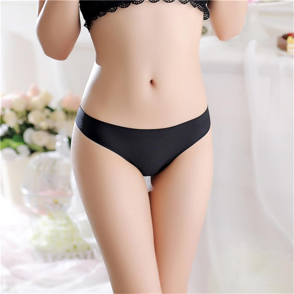 1PC Sexy Women G-string Thongs Lace Floral Sheer Low Waist Underwear Soft Lingerie Ice Silk Briefs Seamless Panties 1