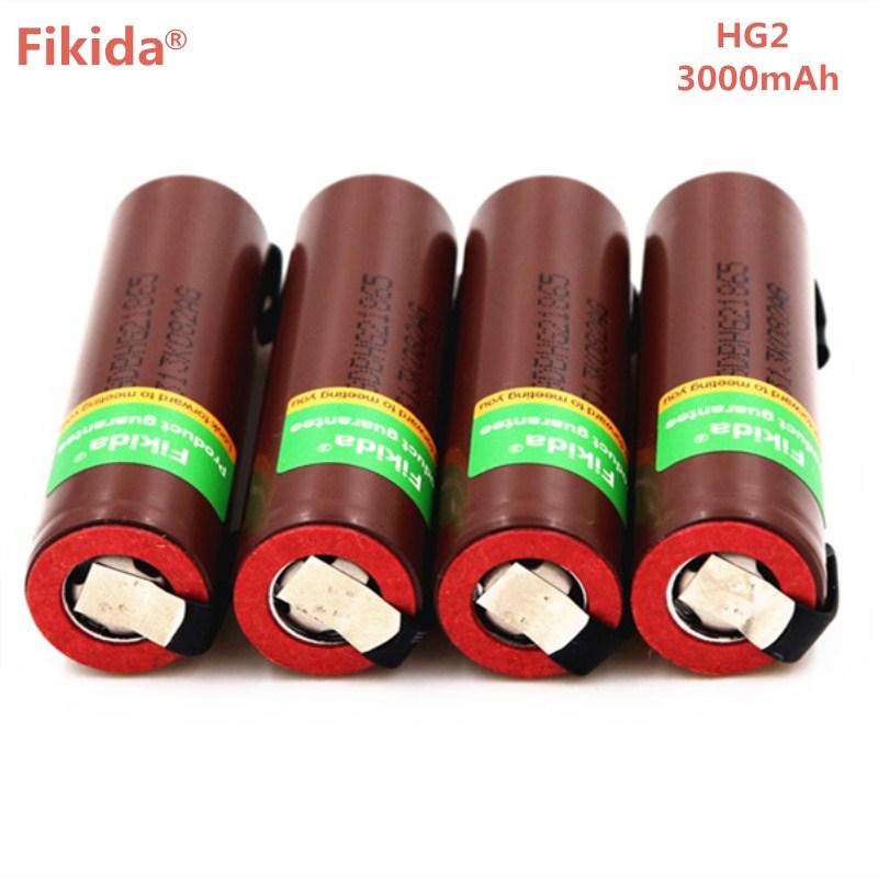 10 pcs HG2 originais 18650 3000 mah bateria recarregável cigarro eletrônico alta-30A alta corrente de descarga + DIY nicke