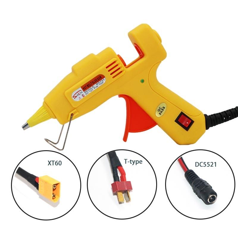 Pistola per colla da 12 V 10 W Hot Melt AC AC DC XT60 Mini pistola per colla tipo T con stick da 7 mm Strumento per la riparazione di aeromobili