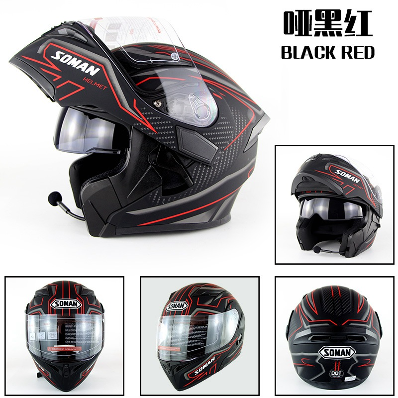 Built-in Bluetooth Casque À Double Lentille Moto Casques Flip up Moteur vélo Capacete Casco Approbation DOT SOMAN 955 BT