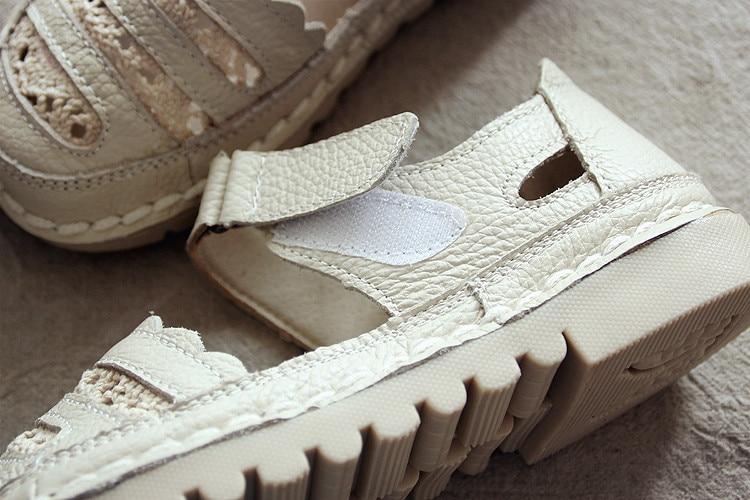 HUIFENGAZURRS-The forest retro small fresh surface leather Original handwork sandals,summer KoreanSuper soft bottom shoes