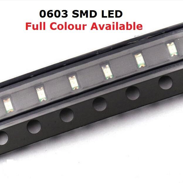 Free Ship 100PCS 0603 LED bead Blue Red Yellow Green Warm White purple Orange SMD light emitting diode high bright quality