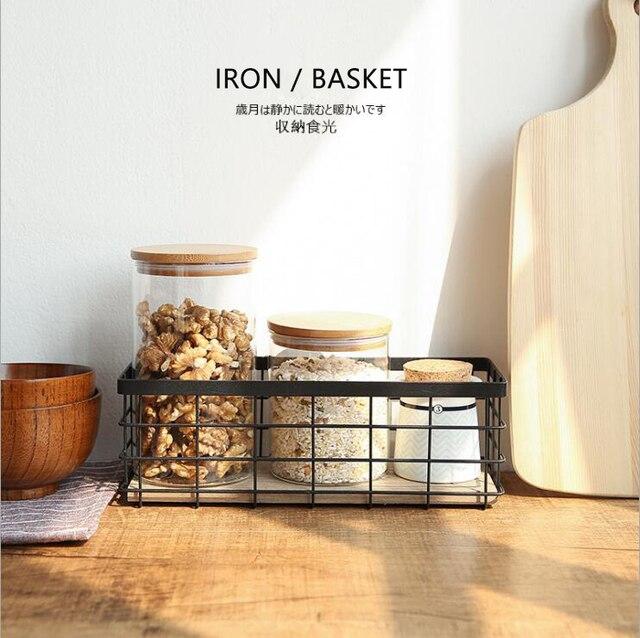 Multifunction Iron Storage Basket White/black Metal Baskets Fruit Bread  Seasoning Bottle Hanging Basket Storage