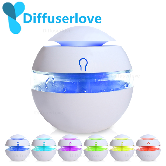 Diffuserlove USB Humidifier 300ml  Aromatherapy Essential Oil Diffuser  Ultrasonic Aroma Mist Make With 7 Color LED Light