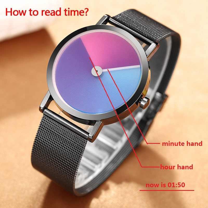 Reloj creativo minimalista único para hombre, reloj de pulsera de lujo de marca de nuevo diseño de moda, reloj de cuarzo Simple para hombres y mujeres