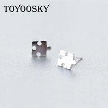 9f695226e Suave Pequeno Puzzle Simples Brincos Do Parafuso Prisioneiro Coringa 925  Pura Fungo Branco Unhas Ear Hipoalergênico Jóias Da Mod.