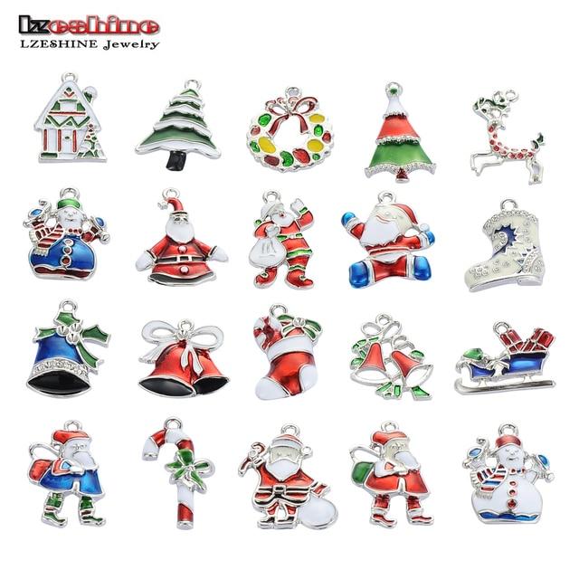lzeshine christmas wholesale lots 20pcsxsilver tone mix unique enamel christmas charms pendants ekmix1 - Christmas Charms