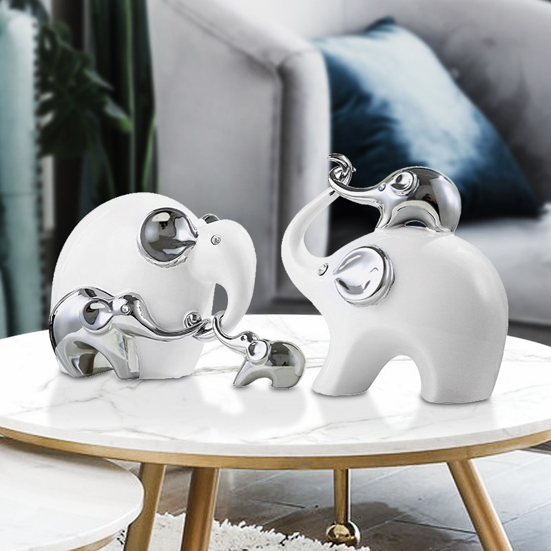 white silver ceramic family elephant statue home decor crafts room decoration elephant loves ornament porcelain animal figurines in Figurines Miniatures from Home Garden