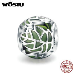 WOSTU Authentic 925 Sterling Silver Tree of Life Tree Leaves Green Enamel Beads fit Charm Bracelet for Women DIY Jewelry CQC524