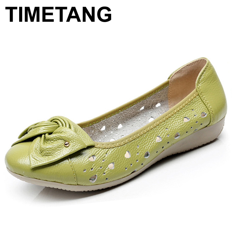TIMETANG Genuine Leather Shoes Women Solid Loafers Women Flats Ballet Spring Summer Flat Shoes Woman Moccasins Factory Outlet