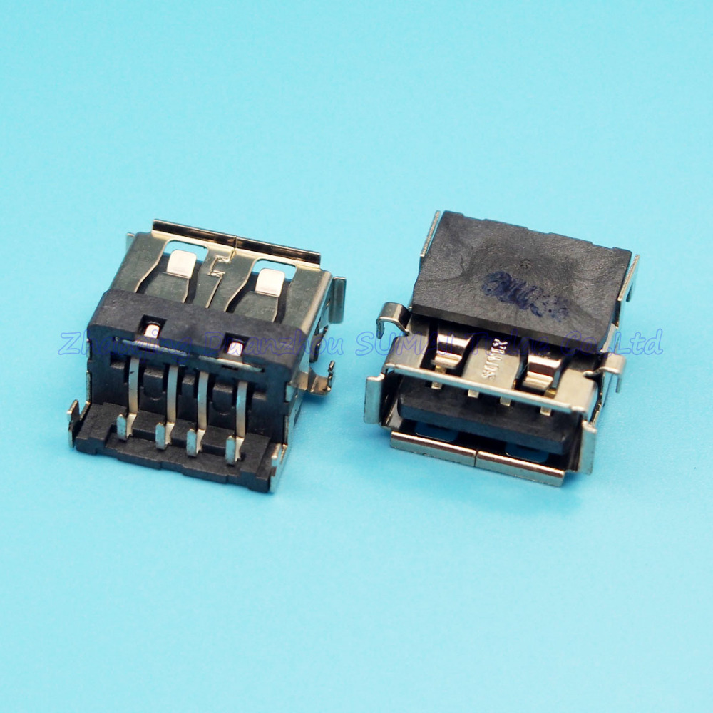 30pcs/lot New 2.0 USB connector USB Jack female socket For Laptop DELL HP etc Copper up