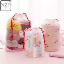 XZP Flamingo Clear Scrub Cosmetic Bag Travel Makeup Case Women Make Up Bath Organizer Storage Pouch Toiletry Wash Beauty Kit