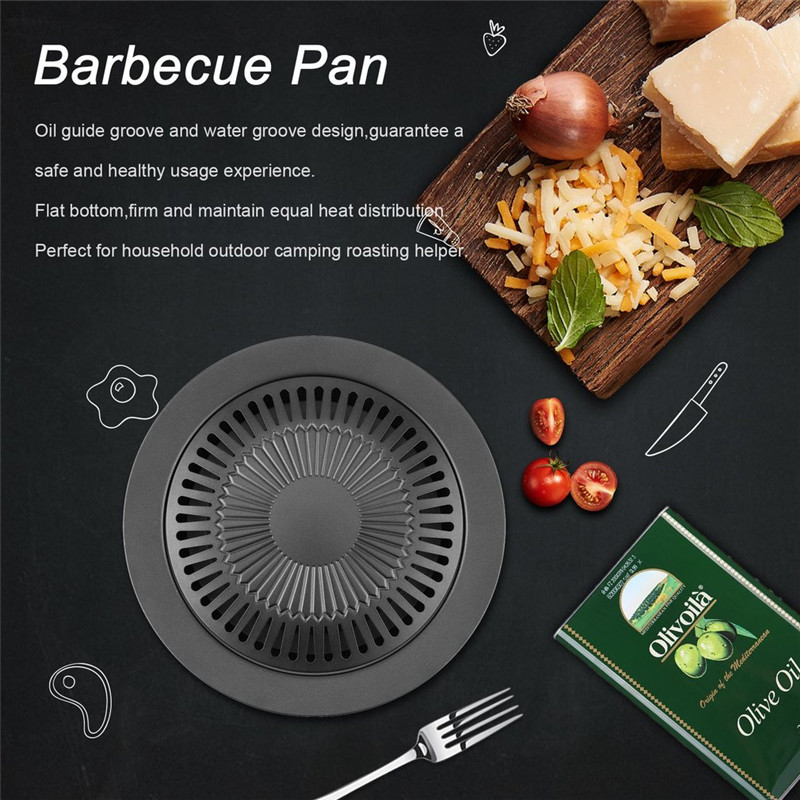 Round Smokeless Barbecue Baking Pan Barbecue Grill with Brush Non-Stick Barbecue Pan Roasting Tray Kitchen BBQ Cooking Tools Гриль
