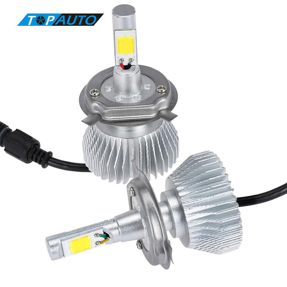 KKmoon One Pair of H4 COB LED Light Headlight Fog Lamp 30W / Piece 9V - 36V 12V 24V Car Bulb Beam Kit 6000K White 3000LM/Bulb pair of car fog light set 9 led fog light bright white lamp left