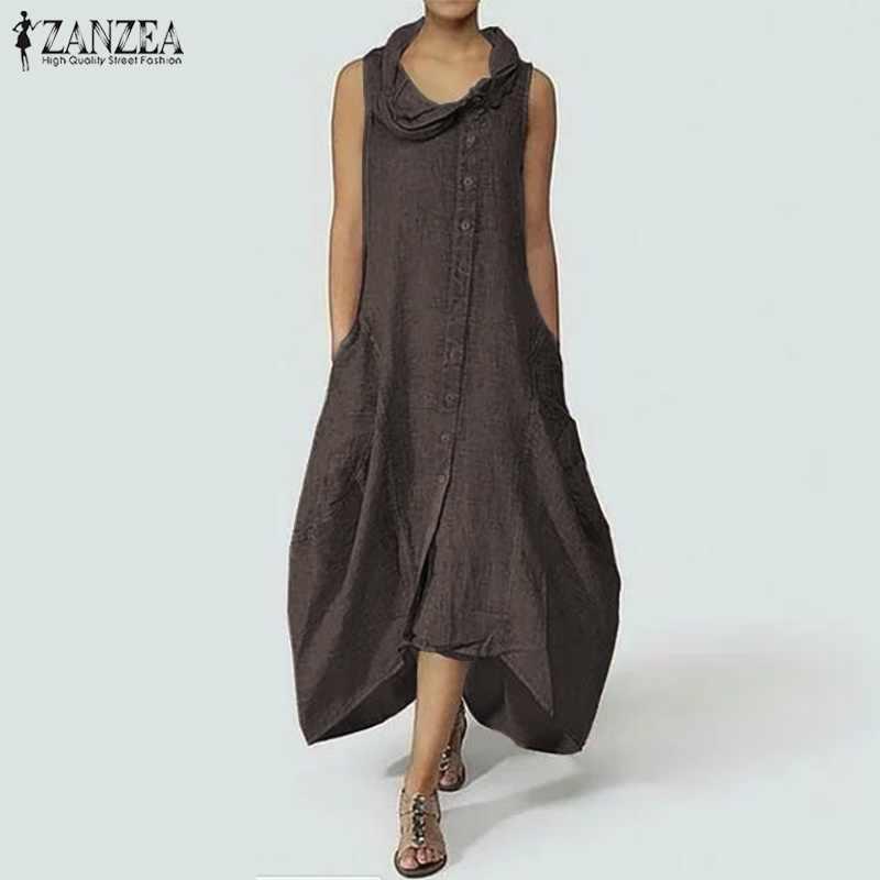 e22b9de69098446 ZANZEA женское длинное платье макси без рукавов винтажное асимметричное  платье с подолом Повседневная Длинная рубашка Vestido