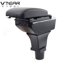 Vtear For nissan terrano accessories arm rest car armrest leather storage box decoration center console store modification 2018