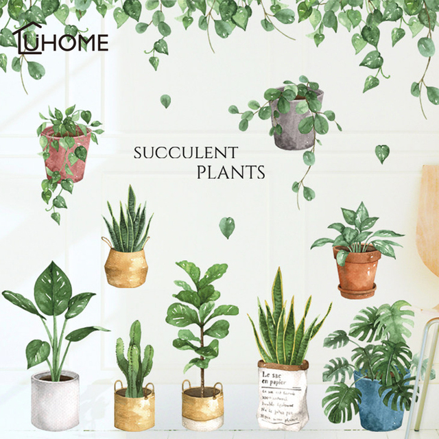 Green Leaf Bonsai Potted Flower Plants Wall Stickers Decorative Sticker Home Decor Kitchen Window Living Room Decor Decal
