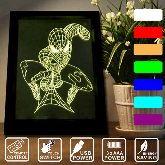 Spiderman LED frame light Home decoration as kid gift Remote control ...