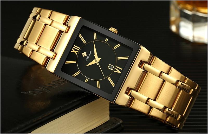 HTB1yV89af1G3KVjSZFkq6yK4XXau Men Watches Top Brand Luxury WWOOR Gold Black Square Quartz watch men Waterproof Golden Male Wristwatch Men watches