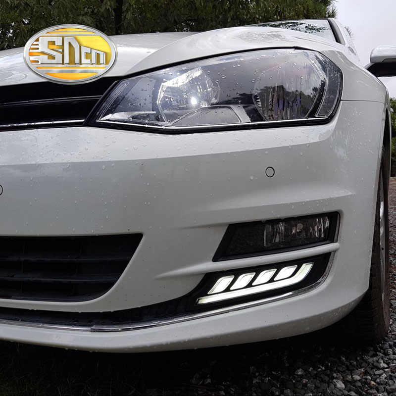 Pour Volkswagen VW Golf 7 MK7 2013-2016, clignotant jaune Style relais étanche 12V voiture LED DRL feux de jour SNCN