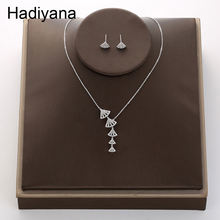 Модное прозрачное ожерелье и серьги из кубического циркона в