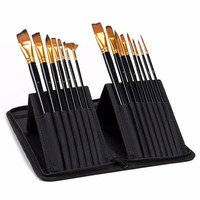 15Pcs Paint Brush Set With Canvas Bag for Oil Acrylic Watercolor Painting Long Hold Nylon Hair Paint Brush Art Material Supplies