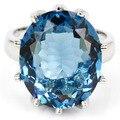 7 #18x15 мм Gemstone SheCrown Лондон Голубой Топаз женщины Обручальное Создания Серебряное Кольцо 20x17 мм